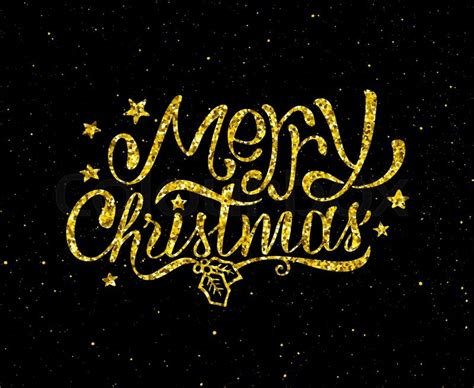 merry christmas gold glittering hand lettering design