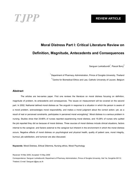Critical Literature Review Define by Moral Distress Part I Critical Literature Review On Definition Magnitude Antecedents And