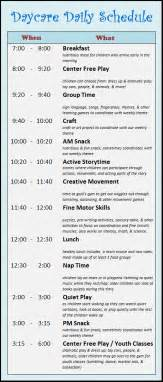 home daycare schedule template daycare schedule on daycare contract daycare