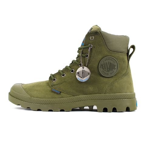 olive green boots mens palladium pa cuff waterproof olive drab green