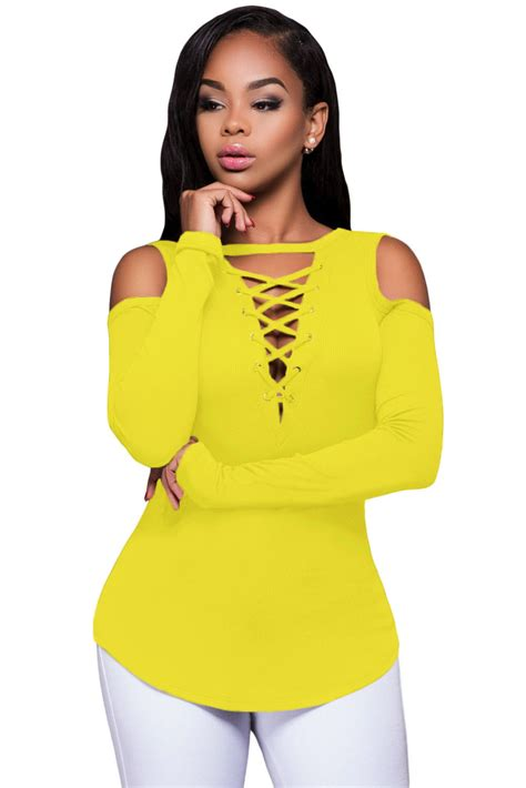 Dear Fashion Mafia Yellow Shirt by Yellow Sleeve Cut Out Shoulder Ribbed Top