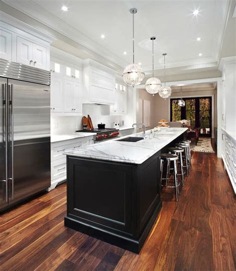 galley style kitchen with island long kitchen island transitional kitchen the design