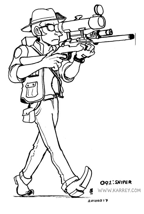 how to draw a sniper coloring pages