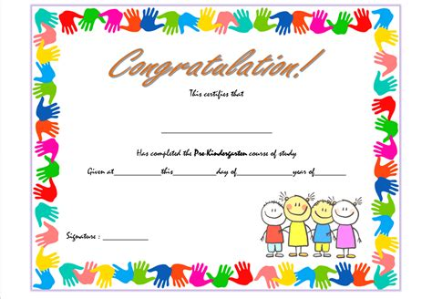 Kindergarten Diploma Template by Pre Kindergarten Certificate Template 1 The Best