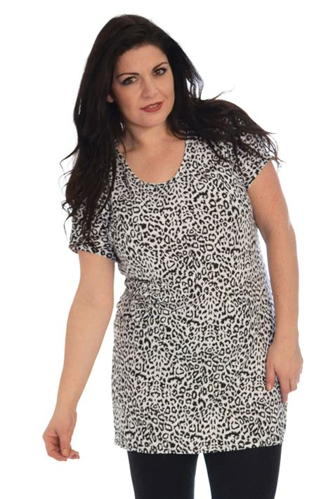 Monochrome Tops new womens plus size tops tunic monochrome leopard