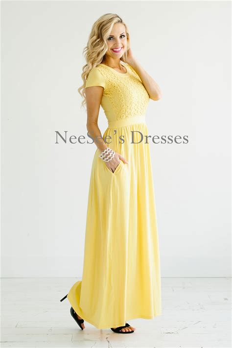Yellow Lace Maxi Modest Dress   Modest Bridesmaids Dresses   Cute Modest Dresses and Skirts for