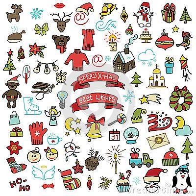 doodle elements 190 new year icons set colored doodle stock photo