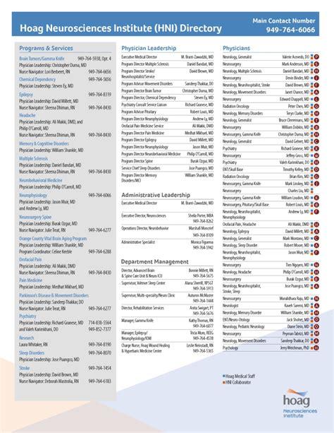 Hoag Hospital Detox Phone Number by Neurosciences Institute Locations Hoag Hospital Orange