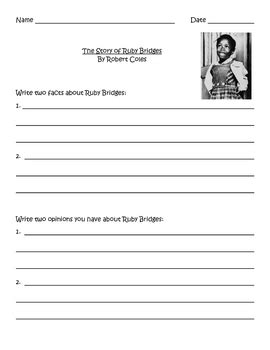 Ruby Bridges Worksheets by The Story Of Ruby Bridges Fact And Opinion By Marks Tpt