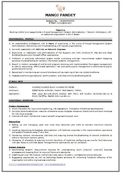 experience engineer resume format doc 9 best best network administrator resume templates sles images on