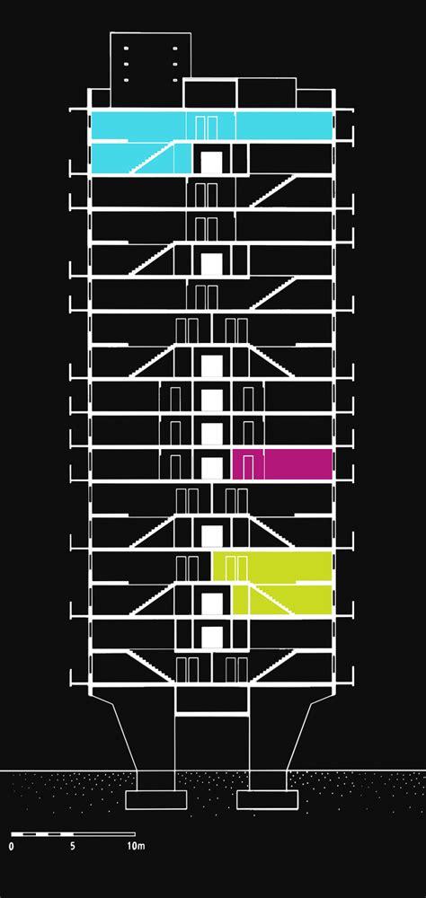 unite d habitation section le corbusier unit 233 d habitation of berlin metalocus