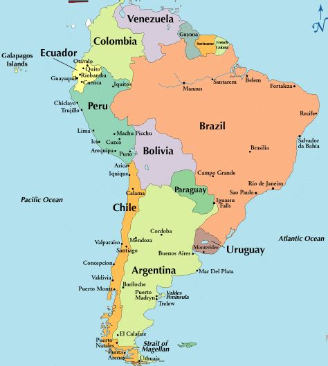 south america map cities and countries cultures