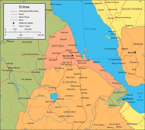 eritrea map eritrea map and satellite image