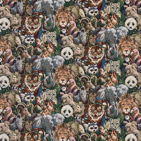 Themed Fabric Upholstery by Zoo Animals Themed Tapestry Upholstery Fabric By The Yard