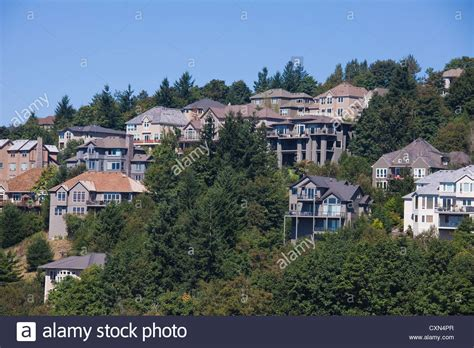 houses in the hills homes in the west hills portland oregon usa stock photo