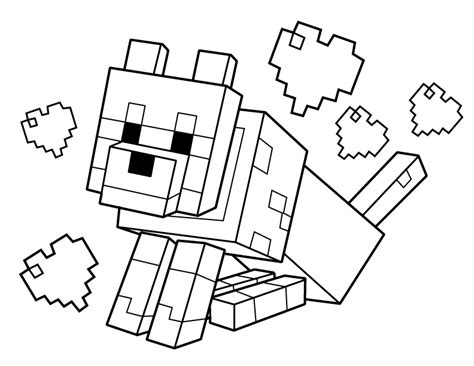 free coloring pages of minecraft tamed wolf