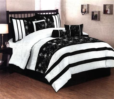 Black And White Striped Comforter Set by 7 Pcs Embroidery Floral Stripe Bed In A Bag Comforter Set