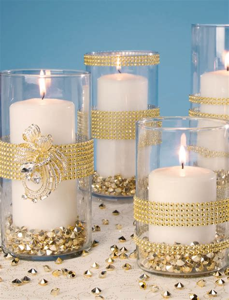 Gold Bling Wrapped Vases Find Gold Decorations At Gold Centerpiece Ideas