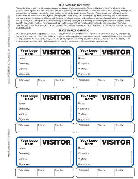 visitor pass template free visitor agreement badges with sign out option