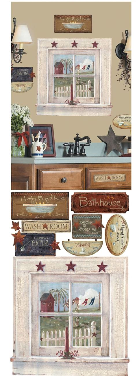 Country Bathroom Decals Wall Decal Unique Primitive Wall Decals Primitive Wall