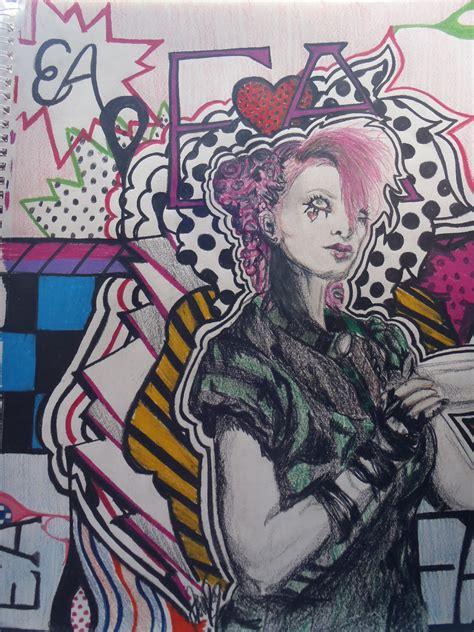 emilie autumn pop art themed drawing  portrait art