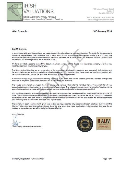 Insurance Valuation Letter Exle Of A Jewellery Valuation