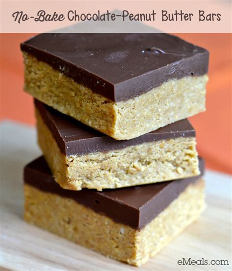 no bake peanut butter bars with chocolate on top easy dessert recipe no bake chocolate peanut butter bars the emeals blog