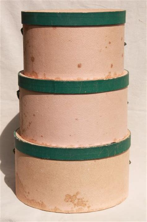 shabby chic hat boxes shabby chic vintage hat boxes faded pink green nesting