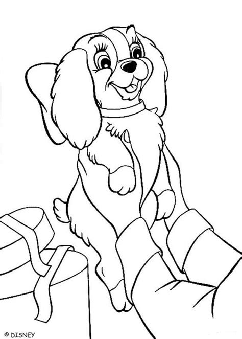 disney coloring pages lady and the tr lady a christmas gift coloring pages hellokids com