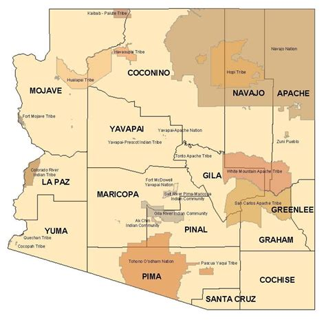 american tribes map arizona indian tribes in arizona map