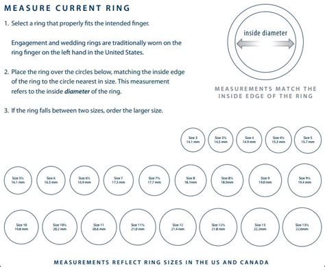 easy printable ring sizer ring size chart