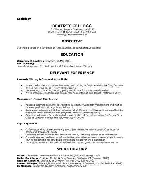 Resume Sle Major by Sociology Resume Exles 28 Images Sociology Skills
