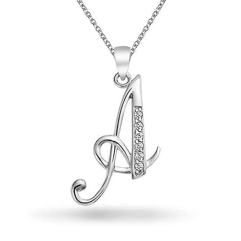 925 silver cz cursive initial letter a alphabet necklace 18in