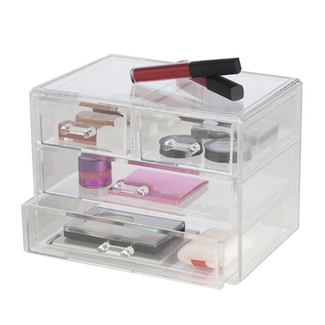 clear stackable makeup drawers clearly chic 2 drawer cosmetic organizer