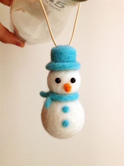 christmas ornaments needle felted snowman ornament