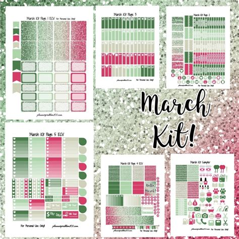 monthly planner stickers printable march glitter kit free printable planner stickers