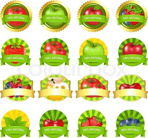 Fruits And Vegetables Labels Set Isolated On White Vegetable Garden Labels