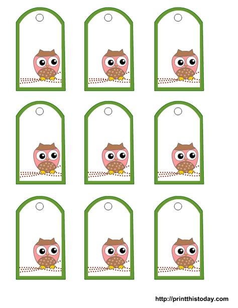 printable baby tags free printable owl gift tags templates in pink or blue or