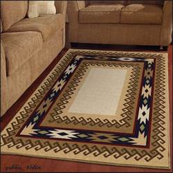 Rustic Cabin Area Rugs Southwest Area Rugs Living Room Western Rustic Cabin Lodge 5 3 X 7 6 Beige Gold Ebay