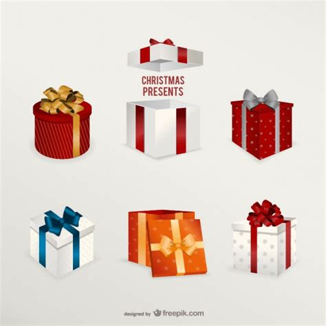 3d christmas presents pack vector free download