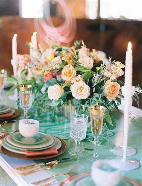 Peach, mint and gold wedding centerpiece ideas