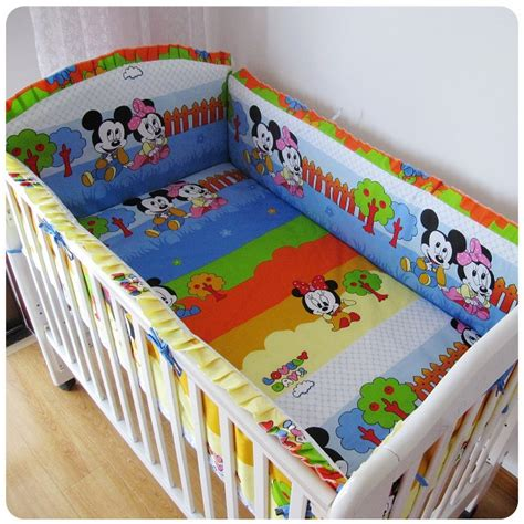 Cheap Cot Bed Bedding Sets Discount 6pcs Mickey Mouse Baby Bedding Set Curtain Crib Bumper For Baby Cot Sets Baby Bed