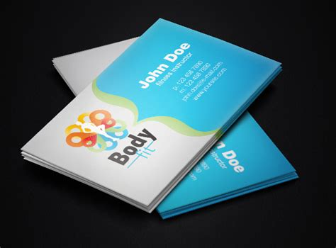 visiting card template ai fitness instructor business card template free vector in