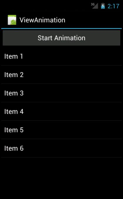 layout animation in android code of android view animation in android using listview code of android