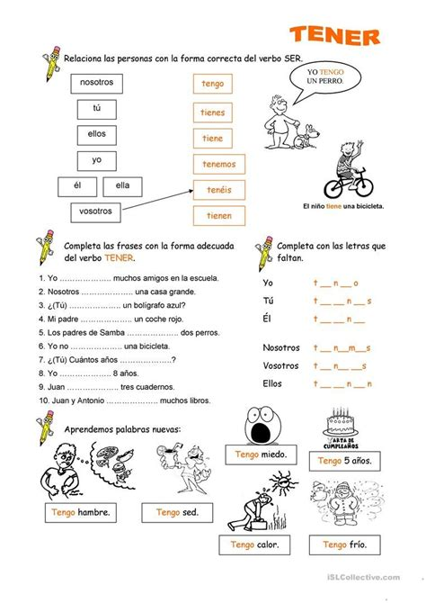 Worksheet Tener Answers