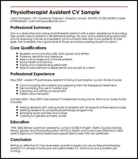 Physiotherapy Resume Sles Pdf Physiotherapist Assistant Cv Sle Myperfectcv