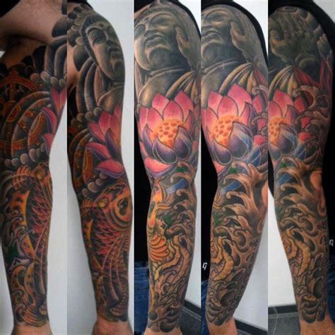 flower tattoo sleeves for men 100 lotus flower designs for cool ink ideas