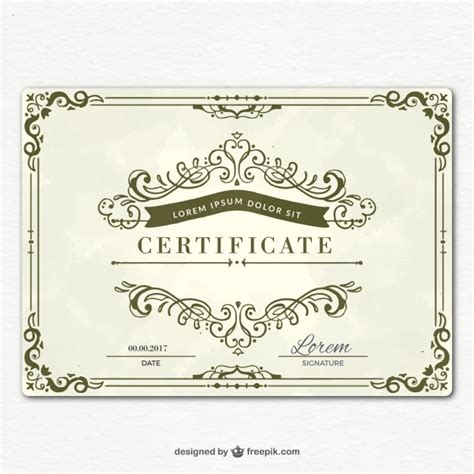 ornamental graduation certificate template vector free