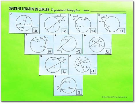 Segment Lengths In Circles Worksheet Answers by Segment Lengths In Circles Pyramid Puzzle All Things