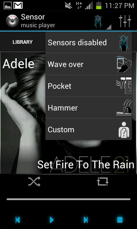 player for android phone change songs with gestures on android phone sensor player